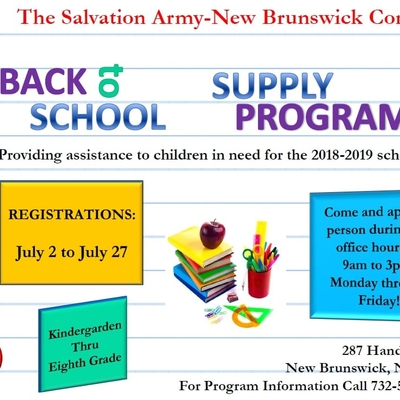 Back to School Supply Program (The Salvation Army- New Brunswick Corps)