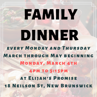 FREE Family Dinner/ GRATIS Cena Familiar - Elijah's Promise