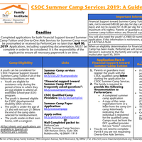 CSOC Summer Camp Services 2019 Guide -  APPLICATION DEADLINE: April 30, 2019